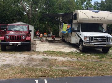 A spacious shady, sandy site at Caladesi RV Park Palm Harbor Florida