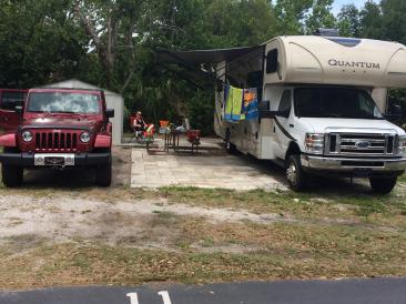 A spacious shady, sandy site at Caladesi RV Park Palm Harbor Florida